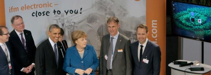 Merkel and Obama visit ifm's trade fair stand