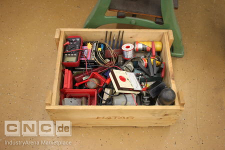 Wooden Box with Machine Accessories -